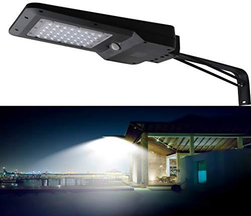 Solarlampen für Außen mit Bewegungsmelder, 2 Funktionen, Flutlichtstrahler mit Hochleistungs-LED, L-Halter für Wand und Laternenpfahlmontage, kabellos, wasserdicht (4 Watt mit 25 LEDs)
