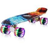 streakboard Skateboard 59x15x10cm para Principiantes Adultos y Niños, Mini Cruiser Skateboard con 4 LED Ruedas, Rodamientos de Bolas ABEC-7