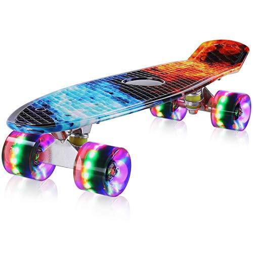 streakboard Mini Cruiser Skateboard 56 cm, Skateboard con Ruote LED Lampeggianti, Mini Skateboard Tavola Completa con Tavola in Plastica e Cuscinetti a Sfera ABEC-7, per Bambini e Adulti