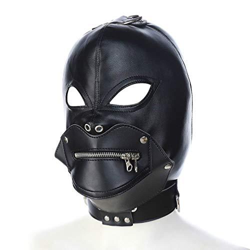 Sombrero De Cuero Negro PVC SM Máscara De Unión BD Adecuado para Hombres Y Mujeres Maquillaje Bola De Vestir (Varios)