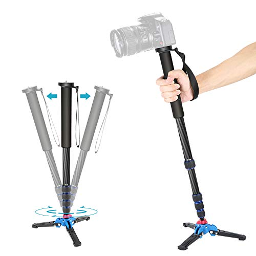 Neewer Extendable Camera Carbon Fiber Monopod with Removable Foldable Tripod Support Base: 5-Section Leg, Max. 66 inches for Canon Nikon Sony DSLR Cameras, Payload up to 11 pounds/5 kilograms