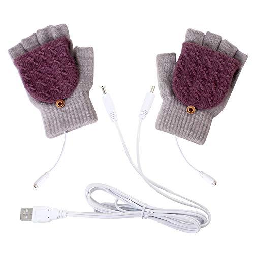 ZSGG USB Beheizte Handschuhe Winter Wolle Warme Handschuhe Fäustling Winter Warme Laptop-Handschuhe Volle Und Halbe Hände Beheizte Fingerlose Strickhände Wärmer Waschbar Design