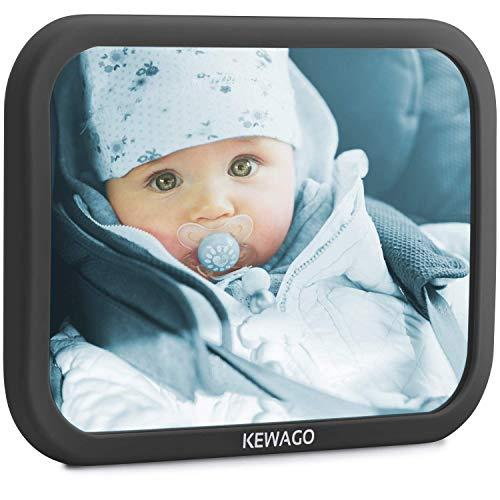 KEWAGO Baby Spiegel fürs Auto, Rücksitzspiegel Autospiegel – Bruchsicherer Babyspiegel, groß Splitterfest – Car Mirror Innenspiegel Kinderspiegel, Rücksitz Rückspiegel - 360° schwenkbar, universal