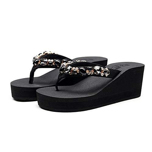 ZHIZI Chanclas Zapatillas de señoras Antideslizantes Resistentes al Desgaste Rhinestone Flip-Flops Verano Casual Pendiente Zapatillas de talón (Color : A Heel 2.7 Inches, Size : 5)