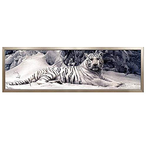 GELANYOUPIN DIY 5D Large Diamond Painting by Numbers Kits Crystal Rhinestone Diamond Embroidery Paintings Pictures Arts Craft for Home Wall Decor Partial Drill White Tiger Paint (58.7.x14.9inches)