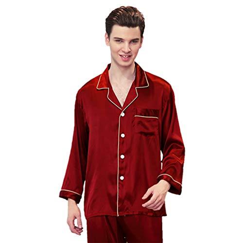 WanYangg Pijamas para Hombre Satén Largo Clasico Conjunto De Pijamas Dos Piezas Primavera Y Verano Ropa De Dormir con Bolsillo con Botones Color Sólido Vino Tinto L