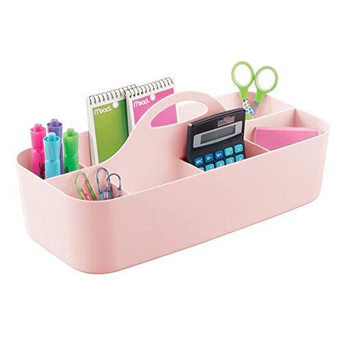mDesign boîte de rangement avec poignée – rangement couture ou papeterie en plastique – organiseur de bureau à 11 compartiments pour crayons, ciseaux, etc. – rose