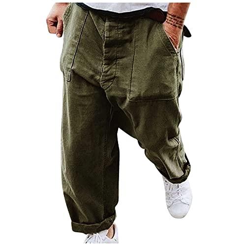 MARIJEE Pantalones deportivos de gimnasio para hombre, sueltos estilo retro de la calle, color liso, pantalones de talla grande, pantalones casuales para correr (verde militar, M)