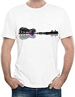 Funny Creative Music Instrument Tree Silhouette Ukulele Guitar Shape Printing T-Shirt Men's Fashion Cool Hipster Tops Tee (White,S)
