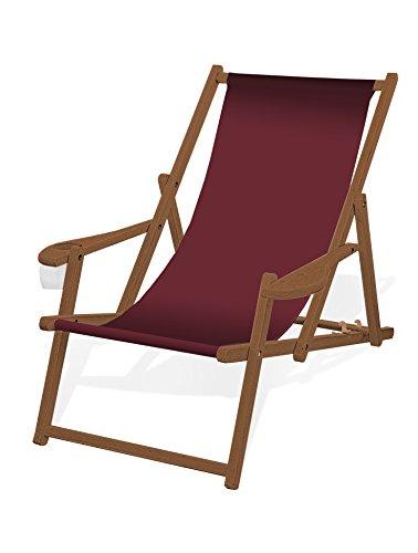 Holz-Liegestuhl mit Armlehne und Getränkehalter, Klappbar, mit dunkelbrauner Lasur, Wechselbezug (Bordeaux)
