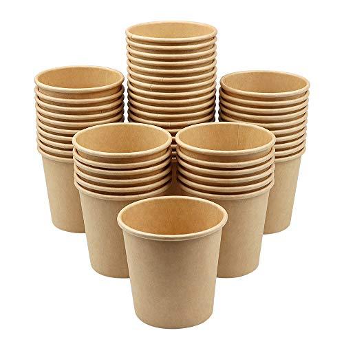C100AE 50 Stück Kraft Pappbecher, Bio Kaffeebecher, Pappbecher für Heißgetränke, Bio Einweg-Becher Biologisch Abbaubar, Für Party Kaffee, Tee, Schokolade, Heißen Und Kalten Getränken, 210 ml, 7 OZ