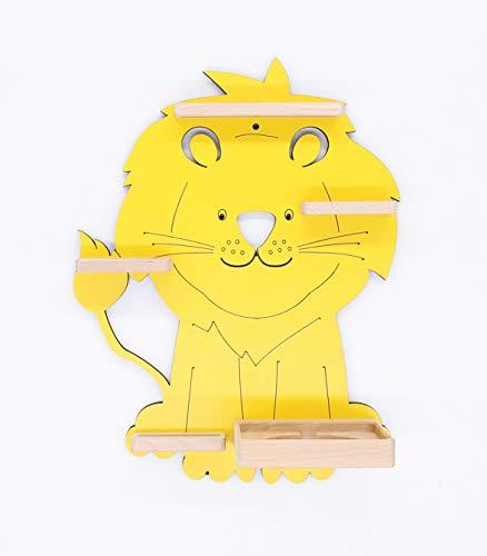 BOARTI Kinder Regal Löwe in Gelb, Kinderzimmerregal geeignet für die Toniebox und ca. 28 Tonies - zum Spielen und Sammeln