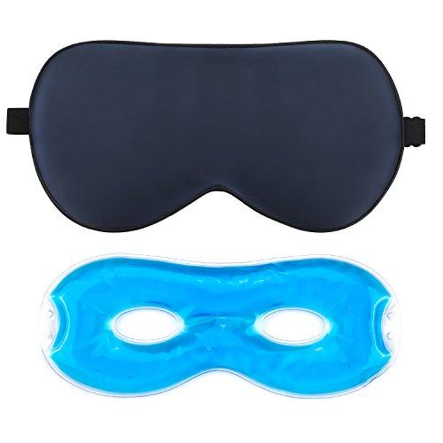 Schlafmaske Herren und Frauen,AJOXEL Augenmaske Kühlend aus seide mit Kühlkissen zum Wärmen und Kühlen Premium und Weich Schlafbrille bequem und freies Bewegen der Augen Gegen Licht für Entspannung