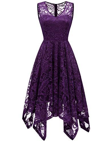 Womens Lace Cocktail Dress Elegant Floral Sleeveless V-Neck High Low Formal Prom Dress Grape 2XL