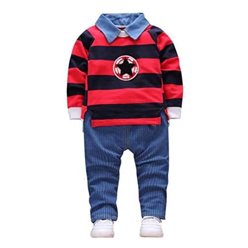 Bambina 18 Mesi Abbigliamento Completino Bambino Completini Per Bambini Vestiti 0-24 Mesi Toddler Bambino Baby Boys Abiti Stripe Pullover T-Shirt Top + Pantaloni Vestiti Set
