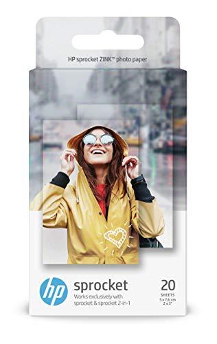 HP Zink W4Z13A, Carta fotografica Autoadesiva per HP Sprocket, non Compatibile con Sprocket Studio, 20 fogli, 5 x 7.6 cm, Grammatura 258 g/m², Lucida e Bianca