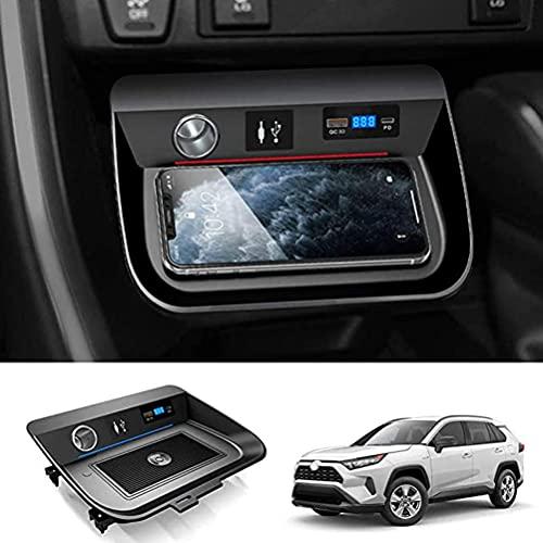 Cargador InaláMbrico para AutomóVil Para Toyota Rav4 2019 2020 2021 Panel de Accesorios de Consola Central, 15 W Qc3.0 Cargador de TeléFono de Carga RáPida Con Puerto Usb De 18 W Y Puerto Pd