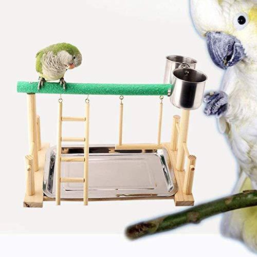 Beirich Vogelspiel-Ständer – Papageienspielplatz aus Holz, Vogellaufstall, Papageienspielplatz, Vogelspielplatz, Sitzstange, Fitnessstudio, Leiter