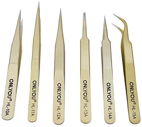 Set professionele horlogemaker pincetten 6-delig roestvrij staal verguld gereedschap tweezers