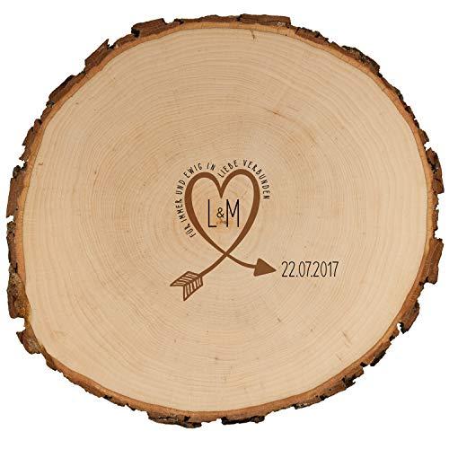 Geschenke 24: Baumscheibe – Gästebuch Alternative zur Hochzeit (25 cm Durchmesser): mit Initialen...