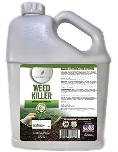 Natural Elements Weed Killer | Pet Safe, Safe Around Children | Natural Herbicide (1 Gallon)