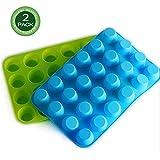 Juego de 2 moldes de silicona para magdalenas, 24 tazas, magdalenas de silicona, antiadherentes, lavavajillas, moldes de silicona para magdalenas, aptos para microondas (azul y verde)