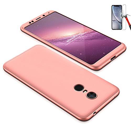 Misstars 3 in 1 Hart PC Hülle für Xiaomi Redmi 5 Plus, Ultra Dünn Matt Handyhülle 360 Grad Full Body Schutz Bumper Anti-Scratch Stoßfest + Displayschutzfolie für Xiaomi Redmi 5 Plus, Rose Gold