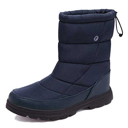 EXEBLUE Men Women's Winter Snow Boots,Unisex Water-Resistant Mid Calf Boots with Fur Lining Outdoor Navy Blue