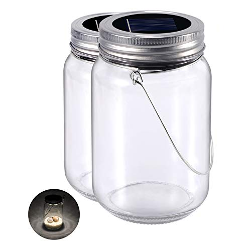 Solarlampen Glas 2-Pack Glasleuchte Warmweiss Solarleuchte Im Einmachglas, Wasserdichte Led Solar Laterne Beleuchtung für Party, Hochzeit, Garten, Balkon, Camping
