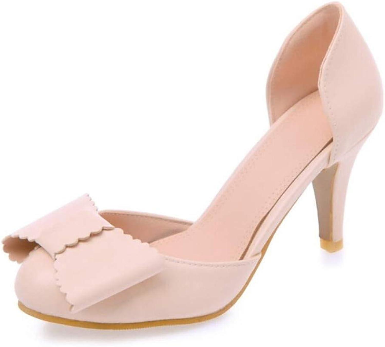 IWlxz Women's PU(Polyurethane) Summer Sweet Minimalism Sandals Chunky Heel Round Toe Bowknot Purple Pink Almond