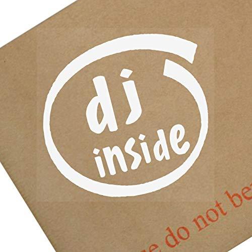Platina Plaats 1 x DJ Binnen-Wit op Clear-87x87mm-Raam, Auto, Van,Sticker,Teken, Voertuig,Lijm,Muziek, Festival,Bas, Dans,Dansen,Drink,Alcohol,Shots,Scratching,Mixers,Deck