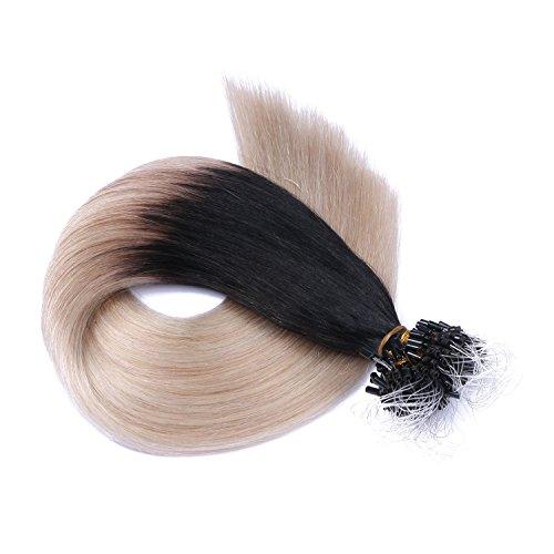 Micro-Ring/Loop Hair Extensions (#1B/GREY OMBRE - 50 cm - 100 Strähnen - 0,5g) 100% Remy Echthaar Haarverlängerung Micro Ring Remy Qualität, ganz leicht einzusetzen - by Haar-Profi