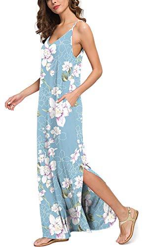 Vestido de Playa Bohemio Casual de Verano para Mujer Cami Maxi Boho Vestidos Lightblue XL