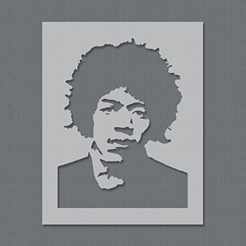 Jimi Hendrix Stencil Riutilizzabile Decorazione Della Parete di Casa & Arte Stampo Pittura su Misura Decorazione Onto Muri, Tessuti, Mobili e Altro Ancora - SEMI-TRASPARENTI STAMPO, XL/ 54x71cm