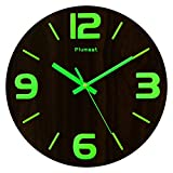 Plumeet Luminous Wall Clocks - 12'' Non-Ticking Silent Wooden Clock with Night Light - Large 3D Numbers Decorative Wall Clock for Kitchen Office Bedroom,Battery Operated (Wood)
