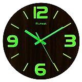 Plumeet Reloj de Pared de 30cm de Madera Luminoso Silencioso con Luz Fluorescente Reloj Decorativo Grande para Cocina, Oficina y Dormitorio (Números 3D)