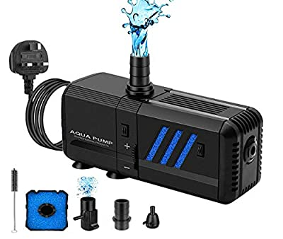 SOECE 130GPH Submersible Aquarium Internal Filter Fish Tank Pump,6W 500L/H 3in1 Adjustable Submersible Water Pump Fountain Air Pump with A Filters Quiet Water Pump for Aquarium,Pond,Garden,Fountain
