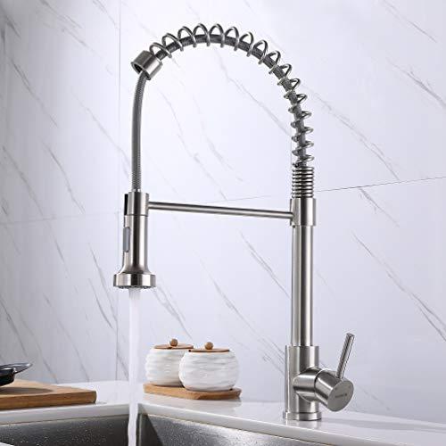 KAIBOR Grifo de cocina con muelle en espiral extensible, grifo de cocina con ducha de acero inoxidable cepillado para fregadero de cocina con ducha