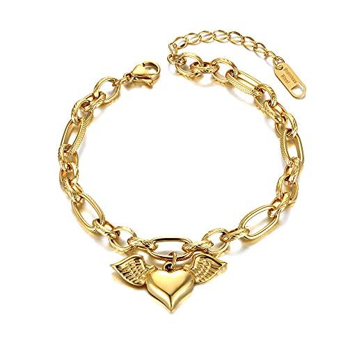 YFZCLYZAXET Pulseras Brazalete Joyería Mujer Pulseras De Cadena De Corazón De Acero Inoxidable De Moda para Mujer Cadena De Hipérbole Joyería-Oro-Colore
