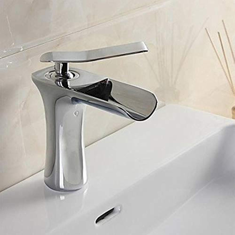 XSRKHomeModerne moderne Set-Wasserfall-Wasserfall mit Keramikventil Einloch Einhandgriff Ein Loch für Chrom, Wasserhahn