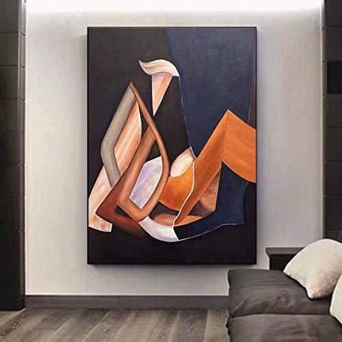 wopiaol Kein Rahmen Moderne Hauptdekoration Leinwandbilder Wandkunst für Wohnzimmer dekorative Malerei Orange Villa Dekoration
