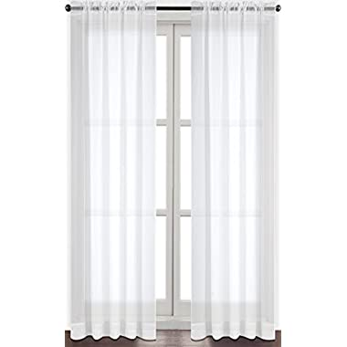 Utopia Bedding Premium White Sheer Curtains - Sheer Voile - White Luxurious - High Thread Window Curtains - 2 Panel Set - 52 by 84 Inches - by