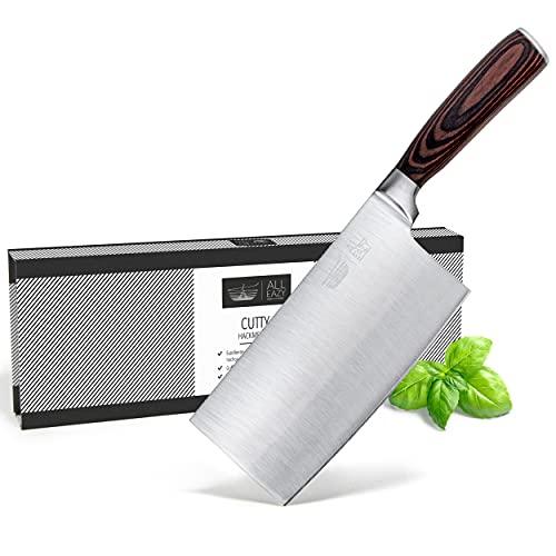 ALL EAZY HOME & KITCHEN Cuchillo de carnicero profesional chino de CUTTY, fabricado con acero especial de alta calidad, antióxido, mango cómodo de madera sostenible.
