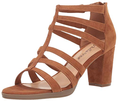 Bella Vita Women's Leah Sandal with Back Zipper Shoe, Biscuit Kidsuede Leather, 6 2W US