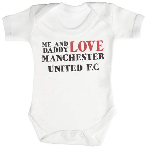 TRS - Me & Daddy Text Love Manchester United Baby Bodys/Strampler 0-3 Monate weiß