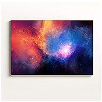 キャンバスアート絵画カラフルな星空キャンバス絵画ポスターとプリントゴールデンウォールアート写真リビングルームダイニングルーム家の装飾60x90cmフレームレス
