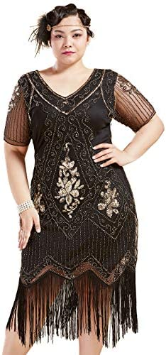 BABEYOND Plus Size 1920s Art Deco Fringed Sequin Dress Flapper Gatsby Costume Dress for Women product image