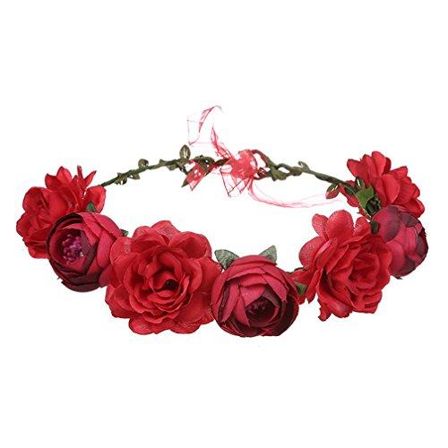 Amorar Handgemachte rote Rose Blume Garland Stirnband, Haar Kranz Halo Floral Krone für Festival Hochzeit, Kopfbedeckung mit Band,EINWEG Verpackung