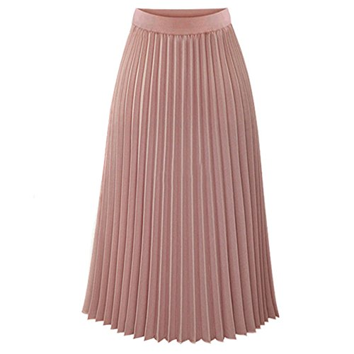 CICIYONER Damen Röcke Frauen Solide Plissee Elegante Midi Elastische Taille Maxi Rock
