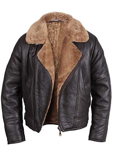 The Leather Empire RAF F-Fliegerjacke aus braunem weichem Leder, echtes Schafsleder, Lederjacke für Herren, B3 Bomberfell und Lammfell, Kunstfelljacke, Lederjacke, Braun Gr. L, braun
